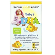 California Gold Nutrition, Детский DHA, омега-3 с витамином D3
